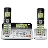 VTech CS6859-2 DECT 6.0 Expandable Cordless Phone with Answering System and Dual Caller ID/Call Waiting, Silver/Black with 2 Handsets
