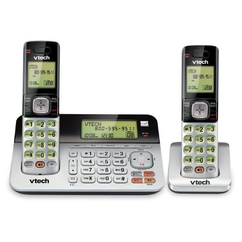 (VTech CS6859-2 DECT 6.0 Expandable Cordless Phone with Answering System and Dual Caller ID/Call Waiting, Silver/Black with 2 Handsets )