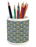 Ambesonne Moroccan Pencil Pen Holder, Geometric Hexagonal Pattern Stars Islamic Style Ancient Eastern Zellige Art, Printed Ceramic Pencil Pen Holder for Desk Office Accessory, Green Blue Black
