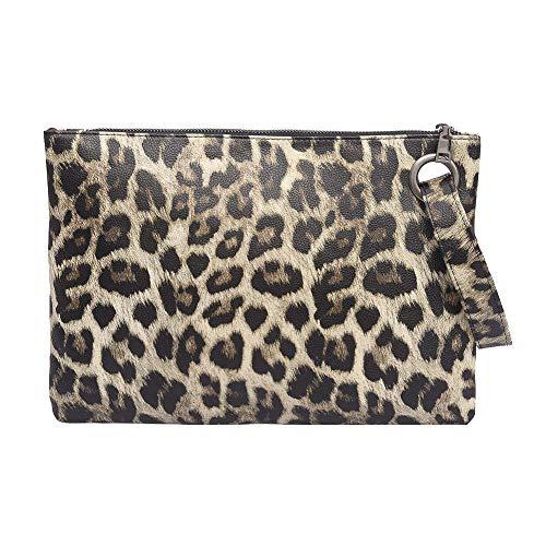 AFfeco Women Animal Print Clutch PU Leather Zipper Wallet Messenger Bag Coin Purse (Beige)
