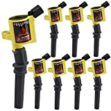 DG508 Ignition Coil Pack High Engine 8 Pack Ignition Coil Curved Boot for Ford E150 E250 E550 F150 F250 F550 4.6L 5.4L 6.8L V8 V10 Lincoln Mercury Compatible Part#DG508 DG457 DG472 DG491 F523