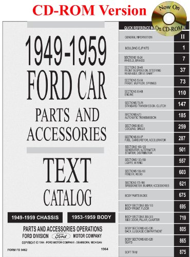 1949 thru 1959 Ford Car Parts and Accessory Catalog ()