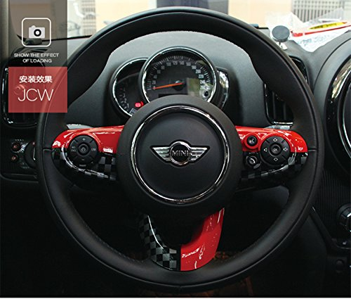 (LVBAO Steering Wheel Trim Cover Cap ABS For Mini Cooper ONE/S/JCW Clubman Countryman Hardtop Hatchback (F Series with Media Control Button, JCW))