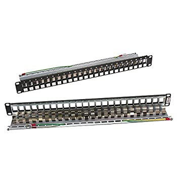 InstallerParts Cat 6A 24Port Snap in Patch panel for STP RJ45 Keystone Jack