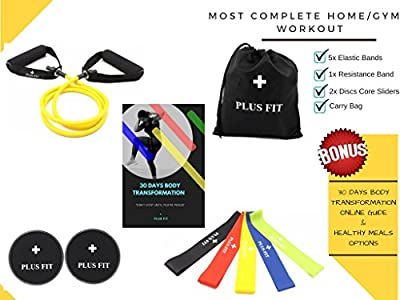 PlusFit Home/Gym Workout Equipment (Gliding Discs Core Sliders, Resistance Loop Bands, Resistance Band Tube & 30 Days Body Transformation and Nutrition Guide Online) Sliders and Resistance Bands