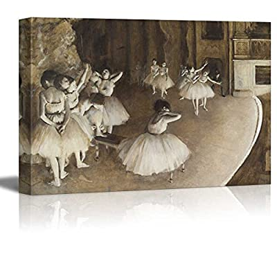 Gorgeous Expert Craftsmanship, Ballet Rehearsal on Stage by Edgar Degas, Made With Love