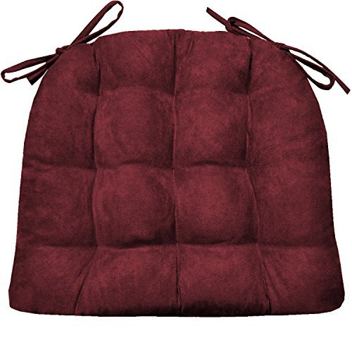 Barnett Products Dining Chair Pad with Ties - Microsuede Wine Red Micro Fiber Ultra Suede - Size Standard - Reversible Latex Foam Filled Cushion, Machine Washable (Wine Red, Standard) (Oversized Kitchen Chair Cushions)