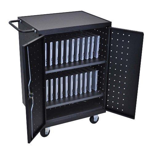 - Luxor LLTP24-B Laptop, Tablet, Chromebook Charging Computer Cart Made of Heavy Duty Steel, 1 Pack