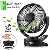 Battery Operated Clip on Fan, USB Rechargeable Portable Baby Stroller Fan with Timer