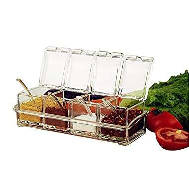 ME.FAN™ Clear Seasoning Rack Spice Pots - 4 Piece Acrylic Seasoning Box - Storage Container Condiment Jars - Cruet with Cover and Spoon