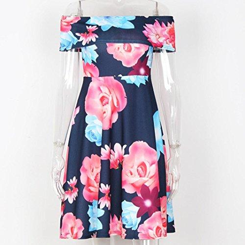 Vestir Mujer, Tefamore Moda & Popular Hombro de la palabra impresa vestido de la te Rosado