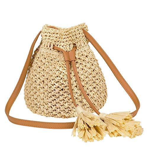 (LUKATU Straw Bucket Crossbody Bag Women Drawstring Handwoven Shoulder Bag Summer Beach Tote Bag)