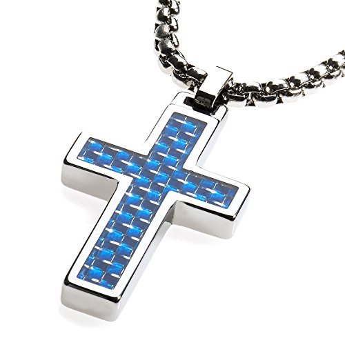 s Pendant .4mm wide Surgical Stainless Steel Box Chain. Blue Carbon Fiber Inlay. (Stainless Steel Tungsten Cross)
