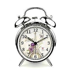 Baidecor Eiffel Tower Twin Bell Alarm Clock with Nightlight Silver 4