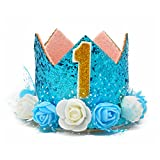 MOO&NOO Dog Birthday Hat Glitter Crown Hat for Dog Birthday Party with 0-9 Figures (Blue)