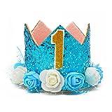 MOO&NOO Dog Birthday Hat Glitter Crown Hat Dog Birthday Party 0-9 Figures (Blue)