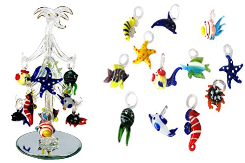Christmas Palm Tree Ornament (LSArts Glass Christmas Palm Tree with Fish Ornaments, 6.25 Inch, Gift Box)
