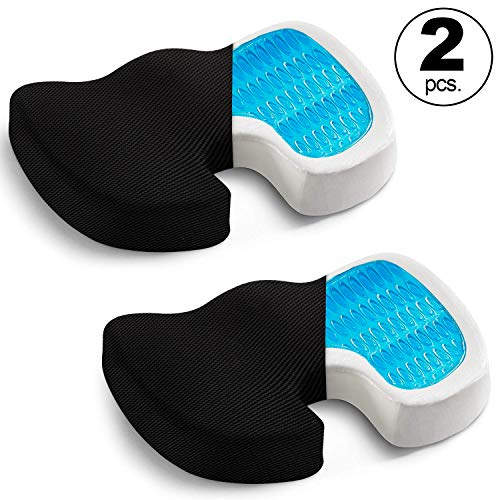 Seat Cushion (2-Pack)- Car Seat Butt Pillow, Hip Support for Office Chair and Wheelchair - Coccyx Orthopedic Gel Memory Foam Pad for Tailbone, Sciatica, Back Pain Relief - Breathable, Black