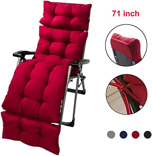 WAQIA HOME 71 Inch Thicken Sun Lounger Cushion Rocking Chair Sofa Cushion, Patio Chaise Lounge Cushion Indoor Outdoor, Garden Recliner Rocking Chair Cushion, Relax Chair Pad Mat for Holiday Red