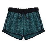 Women Shorts Summer HCFKJ Ladeis Striped Mid Waist Loose Shorts Drawstring Waist Ringer Sport Shorts Pants (XL, Green)