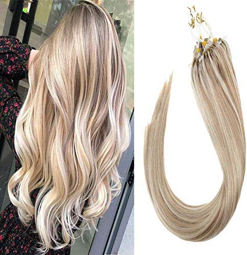 Sunny 16inch Micro Ring Hair Extensions Human Hair Dark Ash Blonde Mixed Bleach Blonde #18/613 Highlight Remy Micro Loop Hair Extensions 1g/s 40g+10g for free,50g/pack in Total.