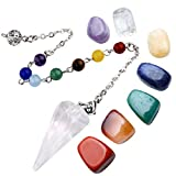 Top Plaza 7 Chakra Healing Crystal Tumbled Palm Stones Natural Clear Quartz Dowsing Pendulum Reiki Balance Meditation Jewelry Sets(Faceted Pendulum#3)