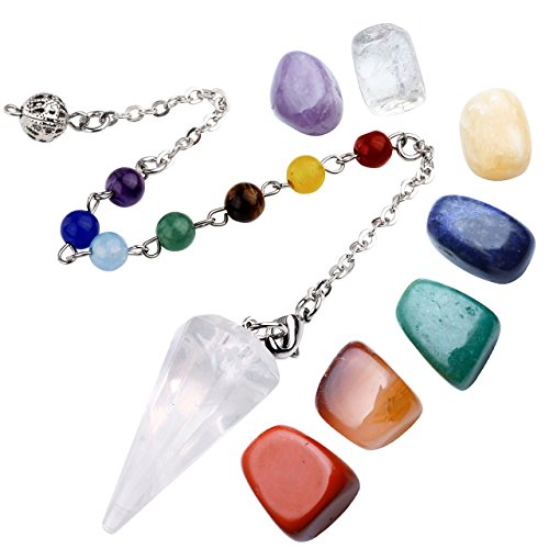 Top Plaza 7 Chakra Healing Crystal Tumbled Palm Stones And Natural Clear Quartz Dowsing Pendulum Reiki Balance Meditation Jewelry Sets(Faceted Pendulum#3)