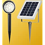 MicroSolar - Warm White - 24 LED - Lithium Battery - Separate Solar Panel with 16 Foot Wire - Solar Spotlight (Flag Pole Light) ---- Automatically Activates from Dusk to Dawn under Good Sunshine