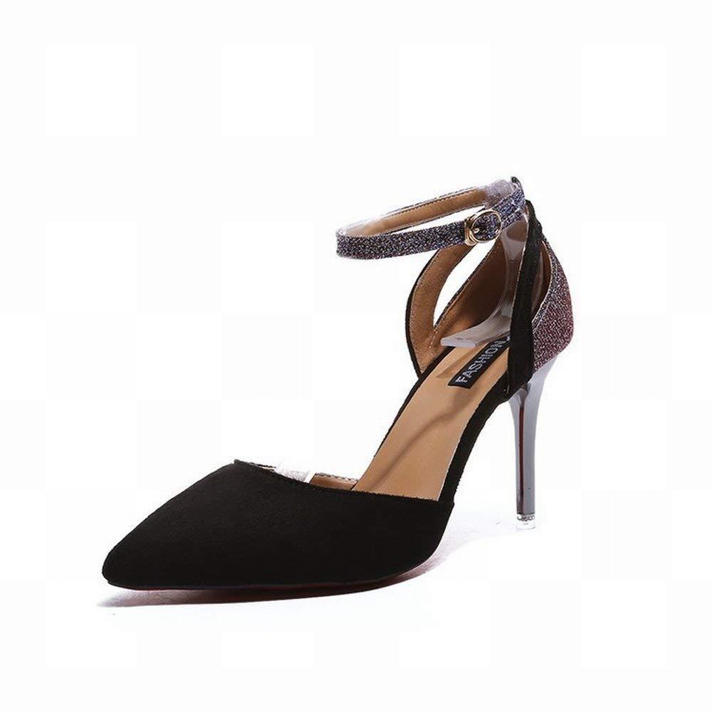 Oudan Knöchelriemen Schnalle Einzelschuh TIPP mit Sexy Heels High Heels Baotou Flach (Farbe   Lila Größe   35)