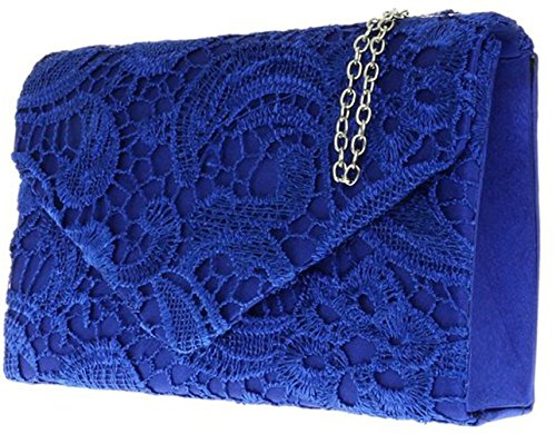 Clutch Satin Shoulder Blue Elegant Ladies Chain Grey Womens Lace Evening Bag Royal Wedding qEZwxdp