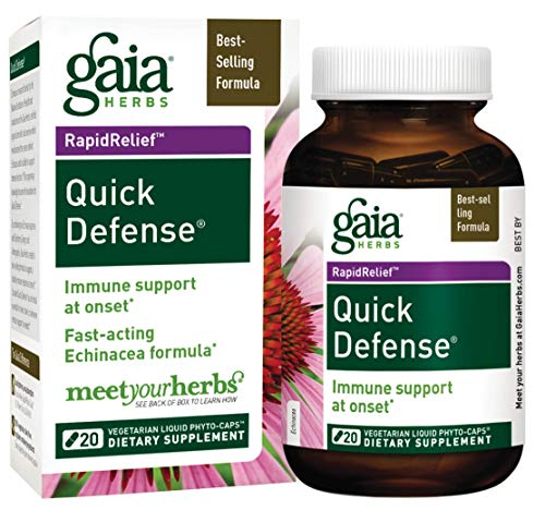 Gaia Herbs Quick Defense, Vegan Liquid Capsules, 20 Count - Fast-Acting Immune Support, Echinacea, Ginger Root, Sambucus Black Elderberry