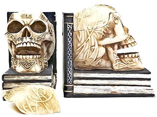 Bellaa 21206 Celtic Skull Bookends with Hidden Storage 5 inch