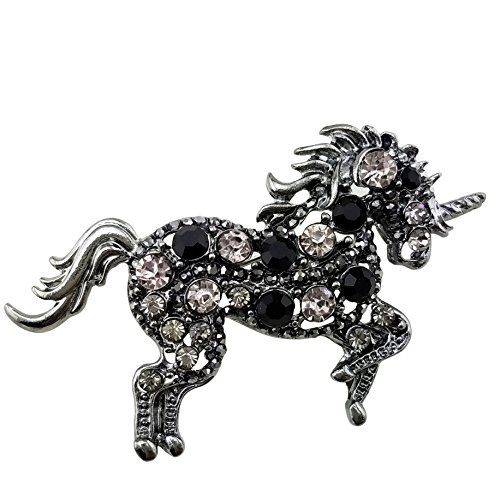 LAXPICOL Vintage Women's Grey Black Austrian Crystal Unicorn Horse Brooch Pin for Girls Silver Tone