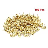 Sydien 100 Pcs Upholstery Nails Metal Domed Head Upholstery Tack Furniture Tacks 22mm x 19mm (Gold Tone)