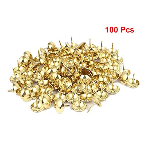 Sydien 100 Pcs Upholstery Nails Metal Domed Head Upholstery Tack Furniture Tacks 22mm x 19mm (Gold Tone) by Sydien