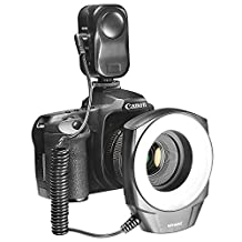NEEWER® 48 Marco LED Ring Light with 6 Adapter Rings (49mm, 52mm, 55mm, 58mm, 62mm or 67mm) for Macro Canon/Nikon/Sony/Sigma/Tamron Lens