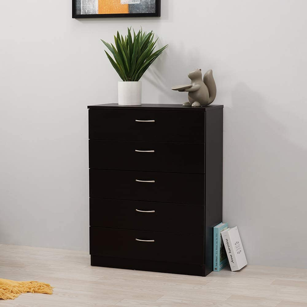 3 Drawer, Black Chest of Drawers 3//4//5 Drawers With Metal Handles and Runners Unique Anti-Bowing Drawer Support Bedside Table Cabinet Storage for Bedroom Living Room Furniture