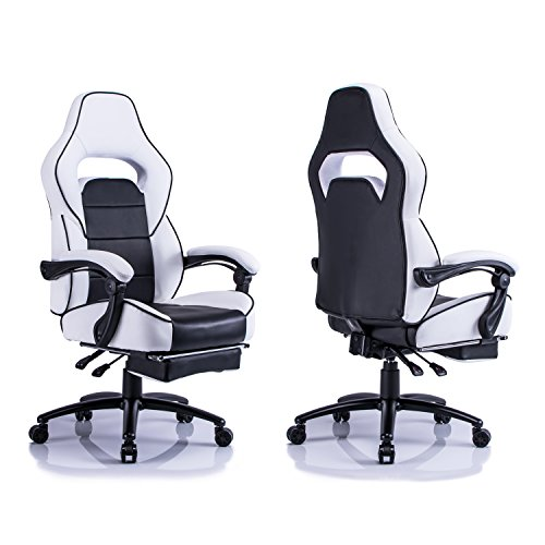 Aminiture Executive High Back Sport Racing Style Gaming Office Chair Recliner PU Leather Swivel Computer Desk Armchair with Footrest (White) by Aminiture (Image #2)