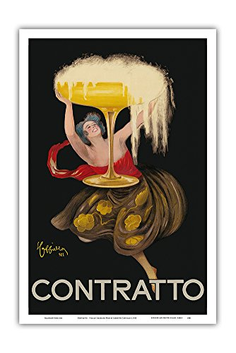 Contratto - Italian Sparkling Wine Champagne - Belle Époque Art - Vintage Advertising Poster by Leonetto Cappiello c.1922 - Master Art Print - 12in x 18in (Best Italian Sparkling Wine)