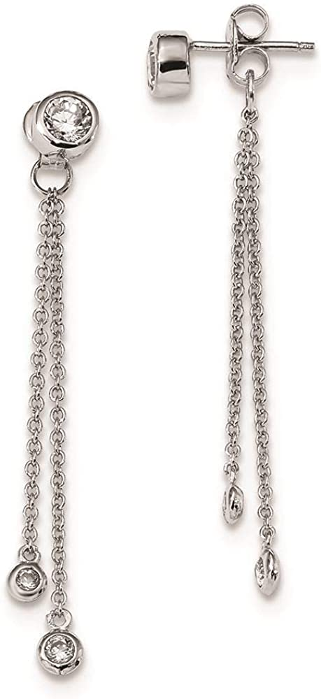 925 Sterling Silver Rhodium-plated Bar /& Chain Front /& Back Dangle Post Earrings