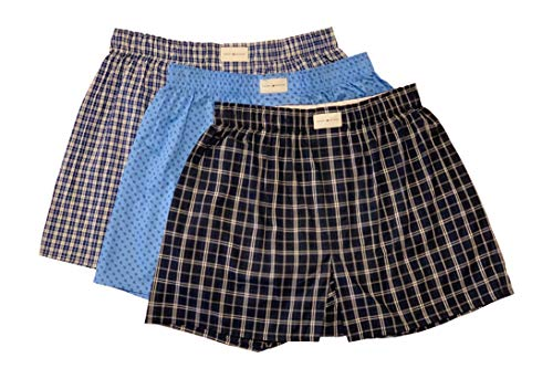 - Tommy Hilfiger Mens 3-Pack Woven Boxer (Large, Blue Navy Plaid)
