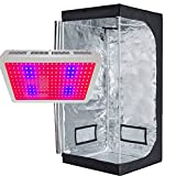 TopoLite LED 600W Full Spectrum Grow Light + 32″x32″x63″ Grow Tent Dark Room Indoor Hydroponic System Kit