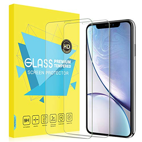 MoKo Screen Protector Replacement with iPhone XR, [2-Pack][Scratch Terminator] Ultra Clear 9H Hardness Tempered [Case-Friendly] Glass Screen Protector Film Fit with iPhone XR 6.1