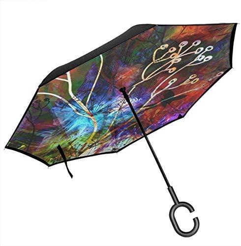 枝とツバメ ユニセックス二重層防水ストレート傘車逆折りたたみ傘C形ハンドル付き