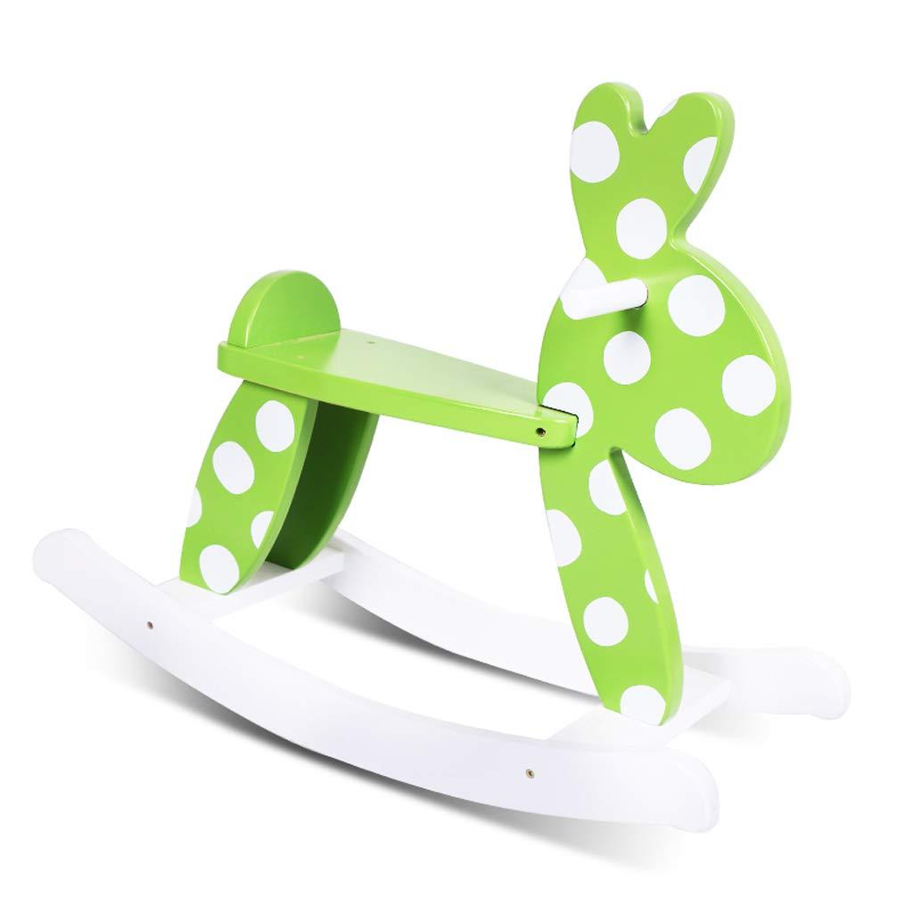 QIQIDEDIAN 子供のロッキングホース赤ちゃんのおもちゃの赤ちゃんソリッドウッドロッキングホースロッキングチェアギフト (Color : Green)  Green B07KNLP14P