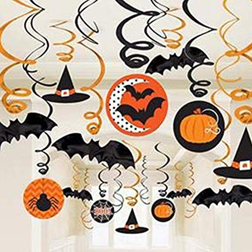 Topgalaxy.Z Scary Halloween Props, Witches & Bats Swirl Ceiling Hanging Decoration, 30 pcs Party Supplies Halloween Hanging Decorations