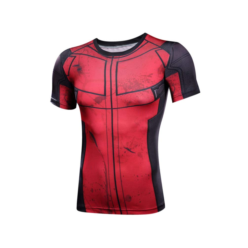 Mens Quick Dry Red Spider Compression Workouts Shirt Cool Graphic Tee Crewneck