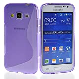 Galaxy Core Prime Case,COOLKE [Purple] Stylish Lines Design Silicone Case Soft Protecting Cover for Samsung Galaxy Core Prime SM-G3606