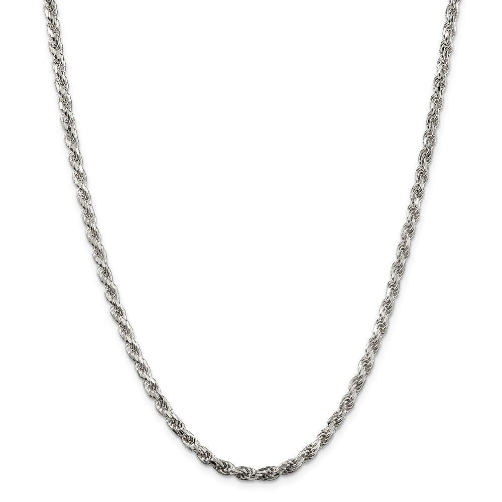 Solid 925 Sterling Silver 3.5mm Diamond-Cut Rope Chain Necklace 28'' - with Secure Lobster Lock Clasp
