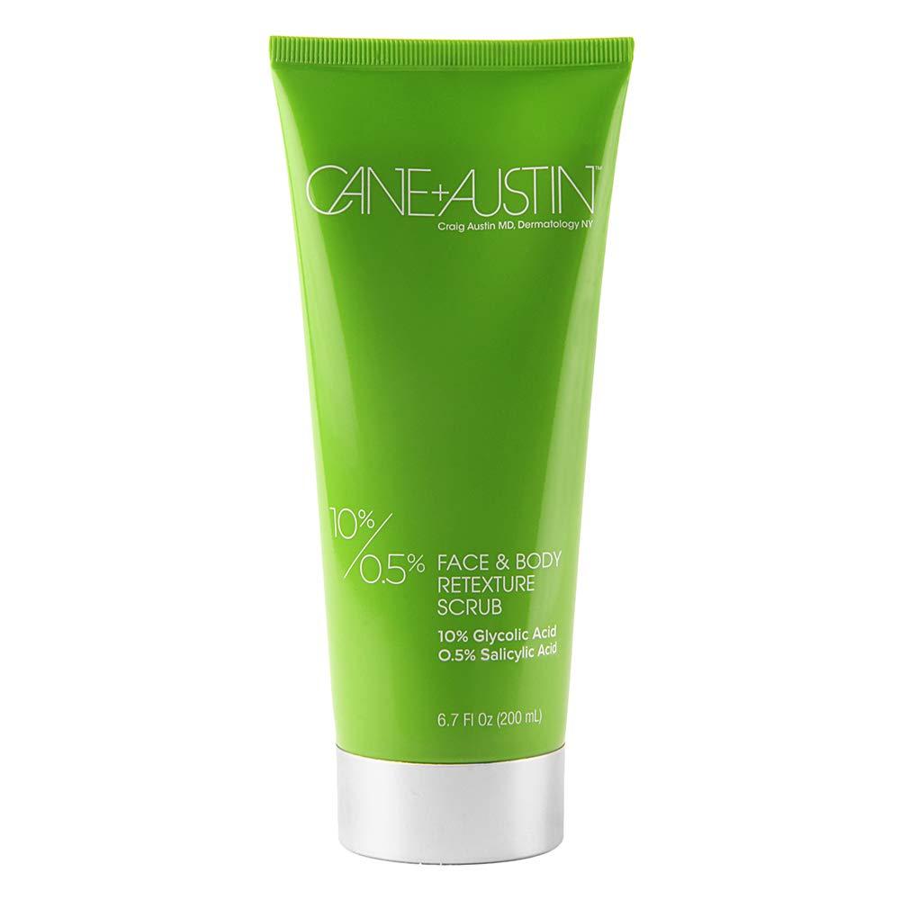 CANE + AUSTIN Face + Body Glycolic Acid Scrub Treatment, Exfoliating Anti Aging Cleanser for Combination & Acne Prone Skin, 6.7 fl. oz.